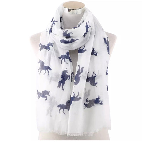 Scarf: Navy Unicorns ~ White 🌟 NEW!