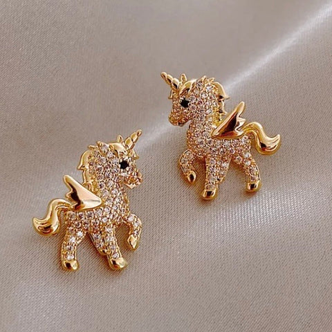 Earrings: Unicorn ~ Gold/Crystal NEW!