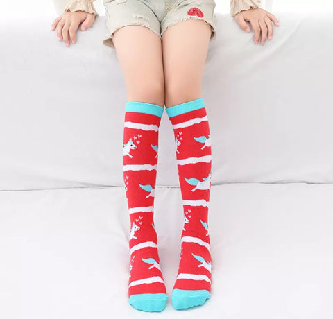 * Booth Socks: Youth ~ Unicorn Red Stripe