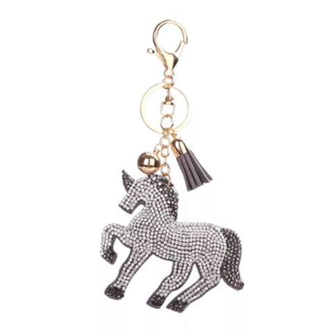 KeyChain / Bag Charm: Sparkle Unicorn ~ Gray with gold hardware NEW