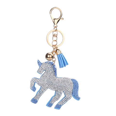 Key Chain / Bag Charm: Sparkle Unicorn ~ Blue with gold hardware NEW!