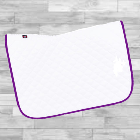 Saddlepad: Regular Size ~ White with Purple