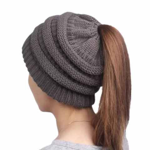 Hat: Ponytail / Messy Bun Winter Beanie Knit Hat ~ Charcoal