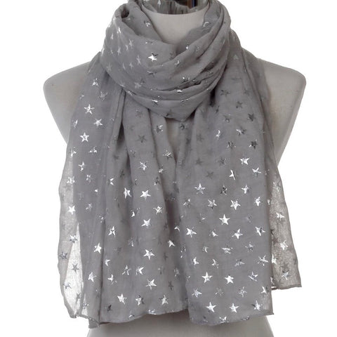 Scarf: Metallic Stars ~ Gray/Silver 🌟 NEW!