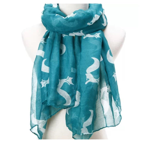 Scarf: Fox - Teal/White