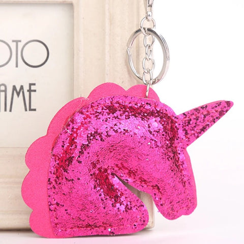 Keychain / Bag Charm: Glitter Unicorn ~ Hot Pink