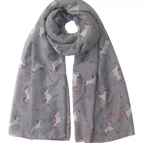 Scarf: Unicorns ~ Gray