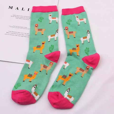 Crew Socks: Alpacas ~ Mint/Pink 🌟 NEW!