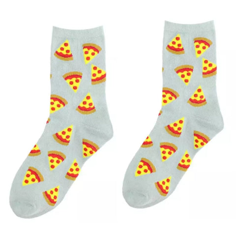 Crew Socks: Pizza ~ Gray