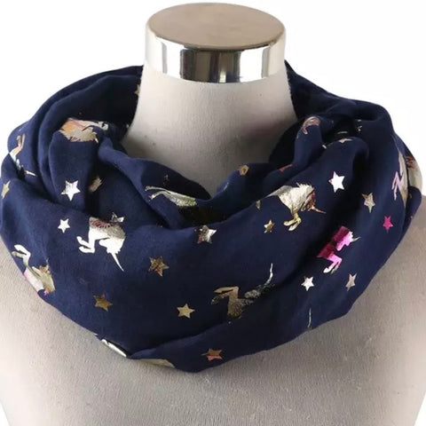 Infinity Scarf: Metallic Unicorns ~ Navy/Holo 🌟 NEW