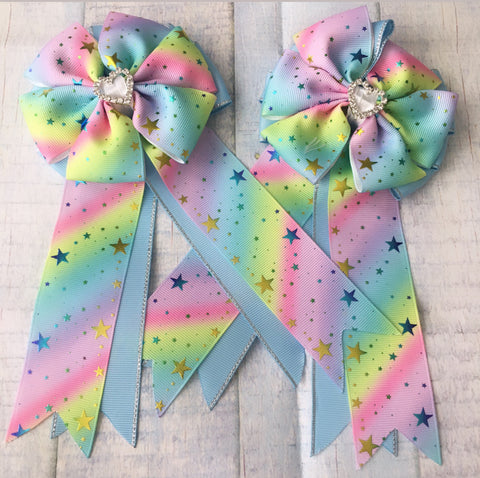 Show Bows: Stars ~ Foil Rainbow/Light Blue