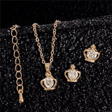 Gift Set: Princess Crown Necklace & Earrings