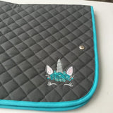 Saddlepad: Unicorn ~ Gray/Turquoise
