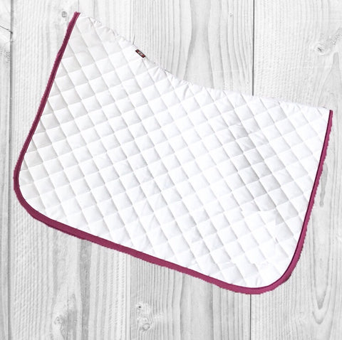 Saddlepad: Regular Size ~ White with Raspberry