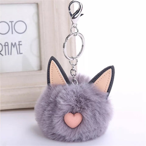 KeyChain / Bag Charm: Pom Pom Pets ~ Cat ~ Gray