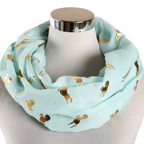 Infinity Scarf: Metallic Horses ~ Mint/Gold 💛 NEW!