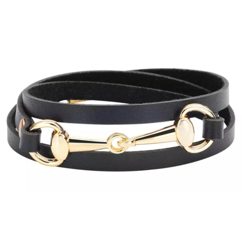 Bracelet: Snaffle ~ Wrap ~ Black/Gold NEW