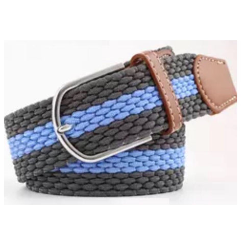 Belt: Comfy Stretchy ~ Gray/Blue/Gray