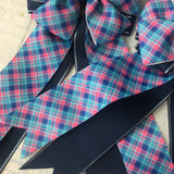 Show Bows: Plaid ~ Navy/Turquoise/Pink