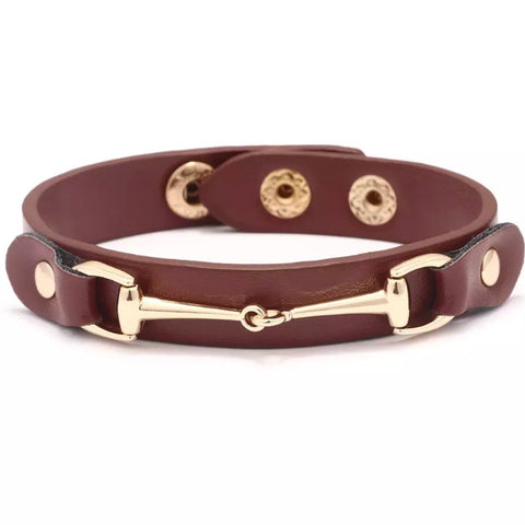 Bracelet: Snaffle ~ Snap ~ Brown/Gold NEW!