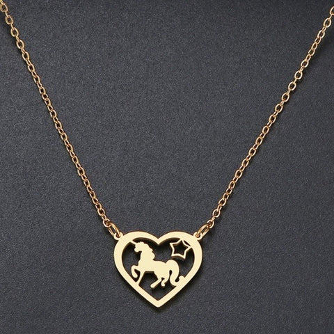 Necklace ~ Unicorn In Heart ~ NEW!