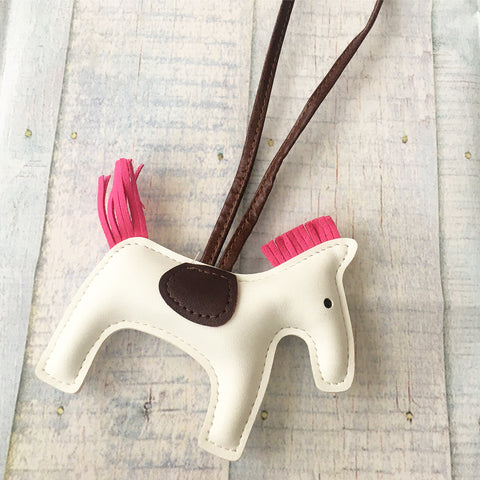 KeyChain / Bag Charm: Loopy Horse ~ White/Hot Pink