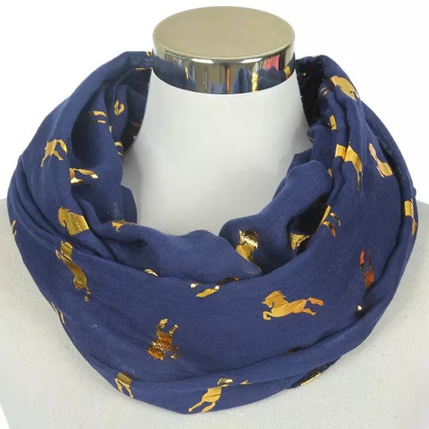 Infinity Scarf: Metallic Horses ~ Navy/Gold 💛 NEW!