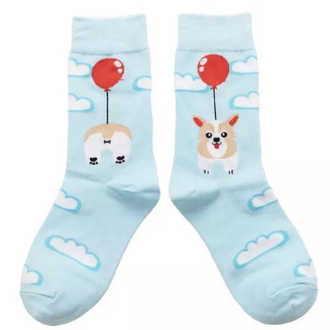 Crew Socks: Corgi & Balloon ~ NEW!