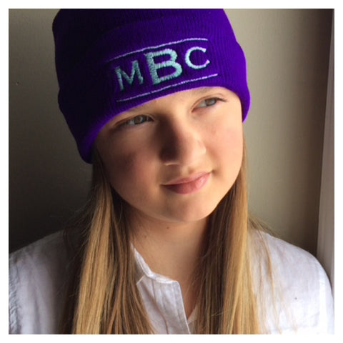 Winter Beanie: Logo - Mint on Purple