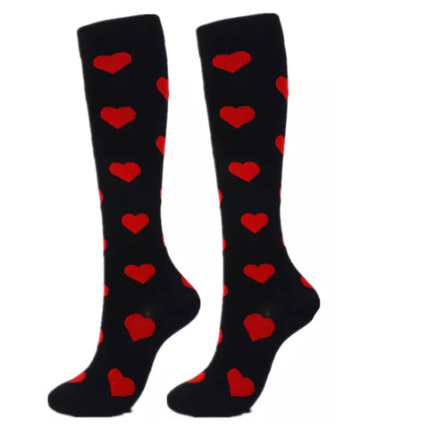 Boot Socks: Hearts ~ Black/Red