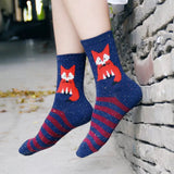 Crew Socks: Foxes ~ Navy