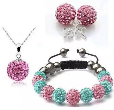 *Gift Set: Earrings/Necklace/Bracelet Pink/Turquoise
