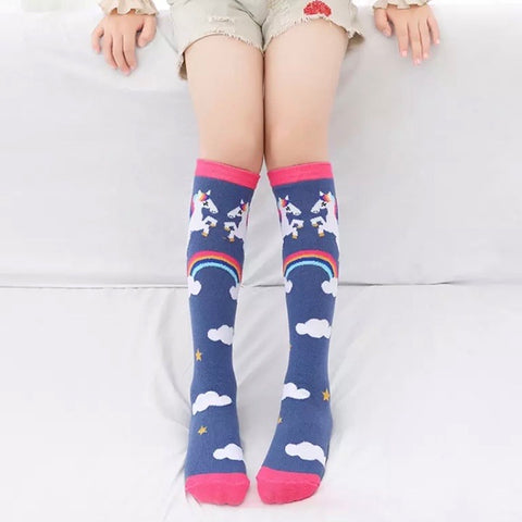 *Boot Socks: Youth Girls ~ Unicorn Rainbow Navy ~ NEW