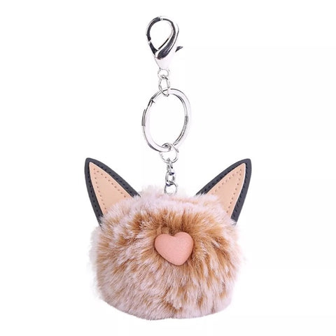 KeyChain / Bag Charm: Pom Pom Pets ~ Cat ~ Tan
