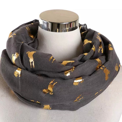 Infinity Scarf: Metallic Horses ~ Charcoal/Gold 💛 NEW!