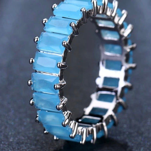 Ring: Anastasia ~ Silver/Light Blue