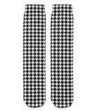 *Boot Socks: Houndstooth Black/White