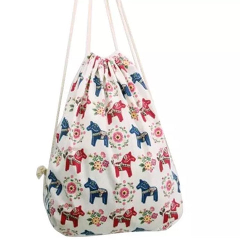 Drawstring Bag: Meadow Horses