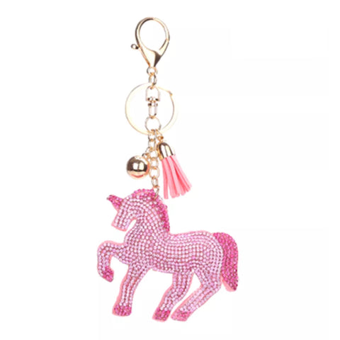 KeyChain / Bag Charm: Sparkle Unicorn ~ Pink with pink crystals & gold hardware NEW