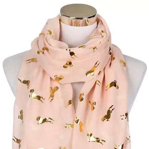 Infinity Scarf: Metallic Horses ~ Blush/Gold 💕 NEW!