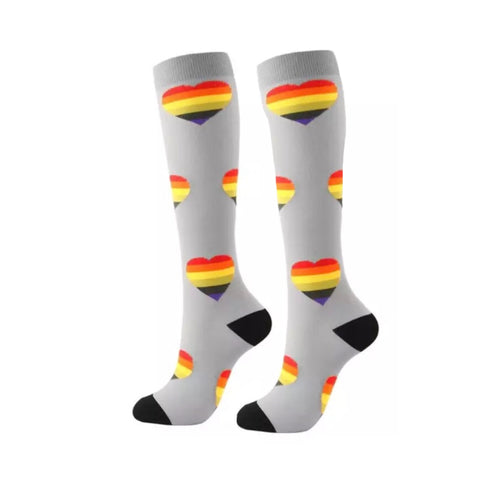 Boot Socks: Rainbow Hearts Gray