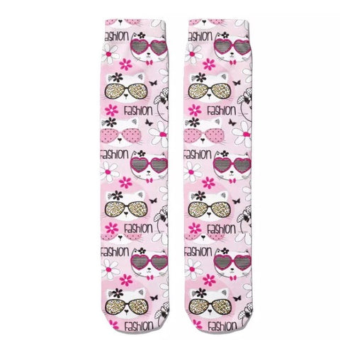 *Boot Socks: Cats Fashion Pink