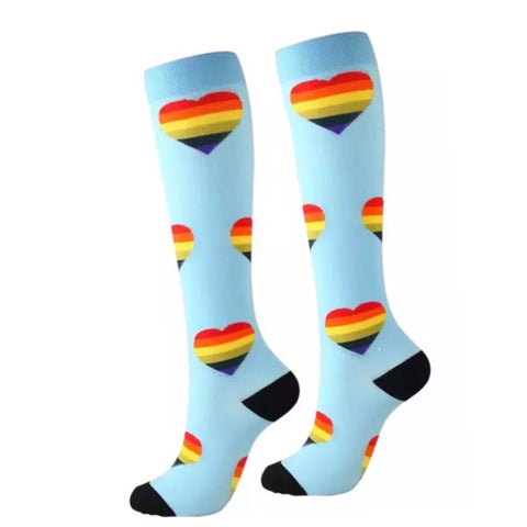 Boot Socks: Rainbow Hearts ~ Blue 💙 NEW!