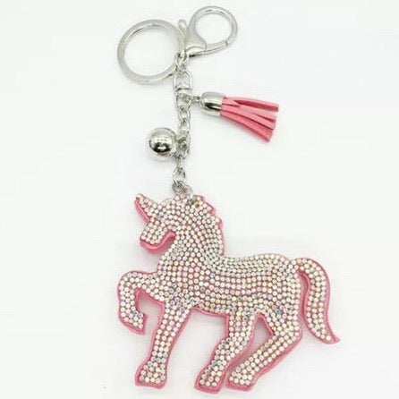 KeyChain / Bag Charm: Sparkle Unicorn ~ Pink with aurora crystals 🦄 NEW 🦄
