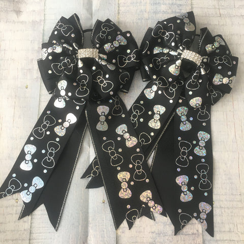 Show Bows: Bows ~ Holographic/Black 🖤 NEW