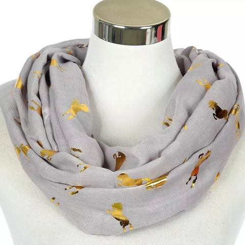 Infinity Scarf: Metallic Horses ~ Gray/Gold 💛 NEW!