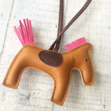 KeyChain / Bag Charm: Loopy Horse ~ Chestnut/Hot Pink