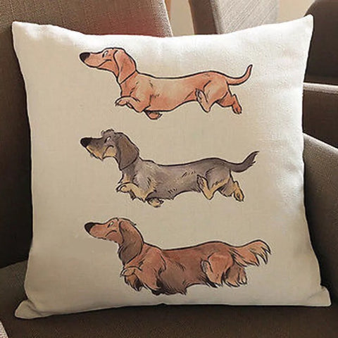 Décor: Throw Pillow Cover ~ 3 Dachshunds