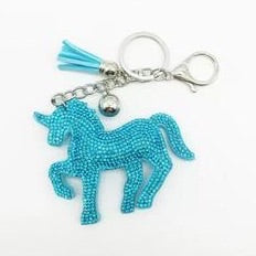 KeyChain / Bag Charm: Sparkle Unicorn ~ Turquoise with silver hardware NEW