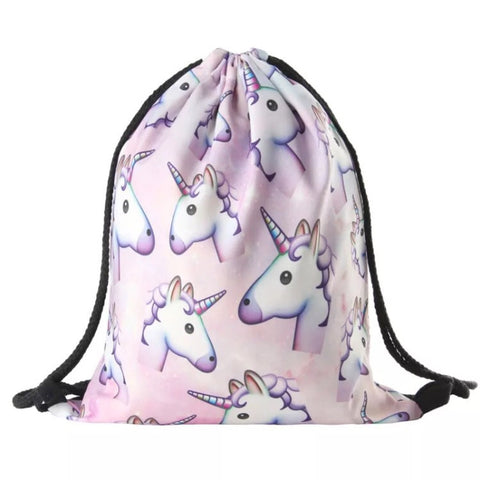 Drawstring Bag: Unicorn Emoji